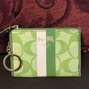 Coach Green and White Key Chain/ Change Purse